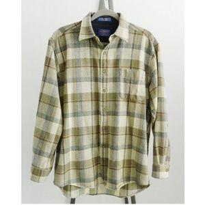 Pendleton Medium Madras Plaid Wool Brown Shirt M
